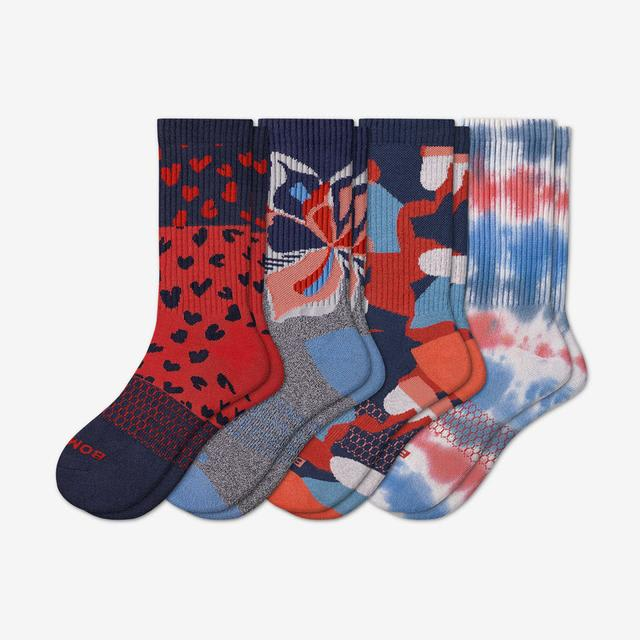red-blue-mix Heart And Sole Calf Sock 4-Pack