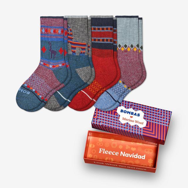red-navy-mix Youth Festive Merino Wool Calf Sock 4-Pack Gift Box