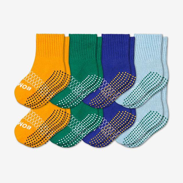 saffron-green-blue Toddler Gripper Calf Sock 8-Pack