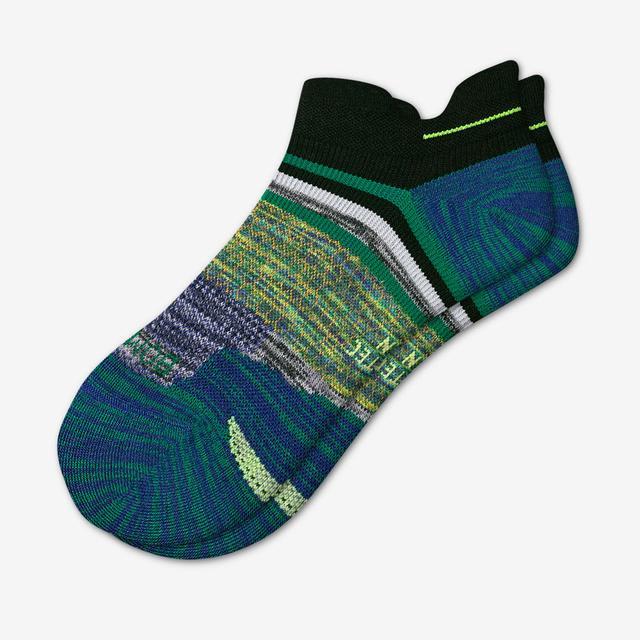 seagreen-black Men's Performance Running Ankle Socks