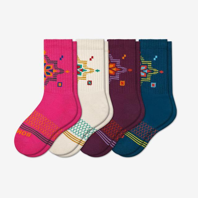 snowflake-4 Youth Holiday Calf Sock 4-Pack