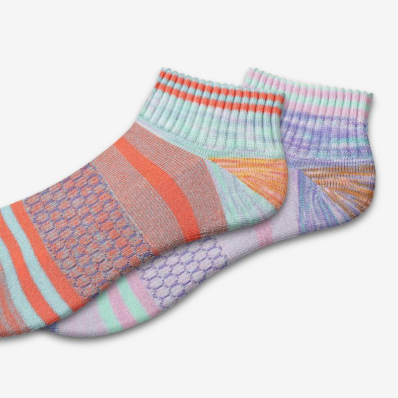 Women's Brush Stripe Quarter Socks