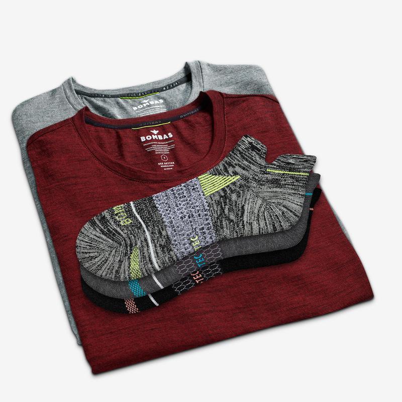 Men's Merino Crew Neck T-Shirt & Merino Running Ankle Sock 4-Pack