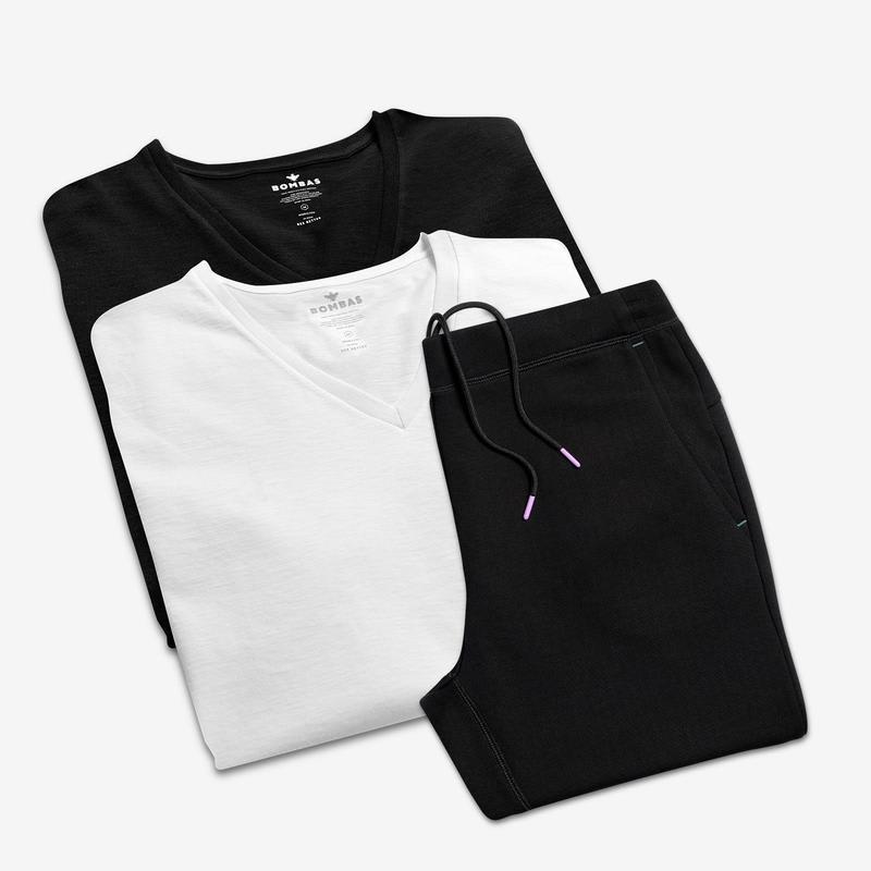 Women's V-Neck T-Shirt & Sweatpants 4-Pack
