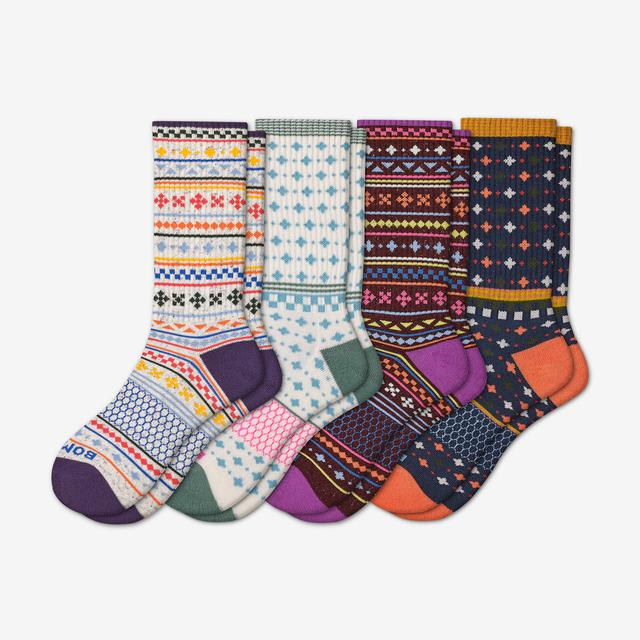 soft-white-plum-mix Women's Holiday Calf Sock 4-Pack