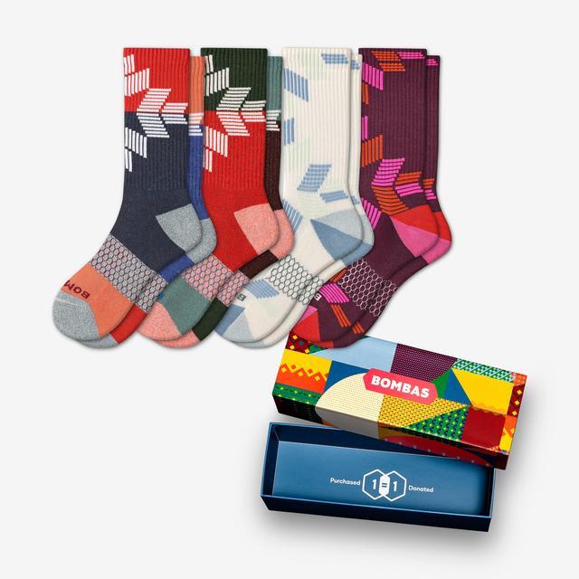 soft-white-plum-mix Women's Holiday Snowflake Calf Sock 4-Pack Gift Box
