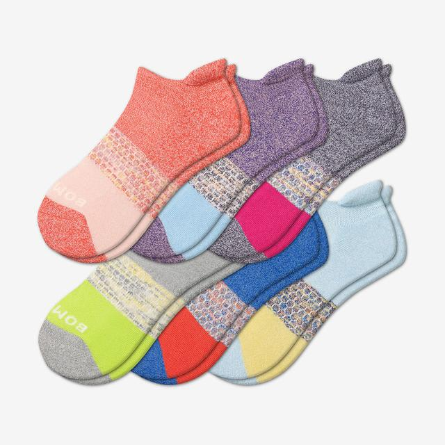 space-dye-marl-mix Women's Tri-Block Marl Ankle Sock 6-Pack