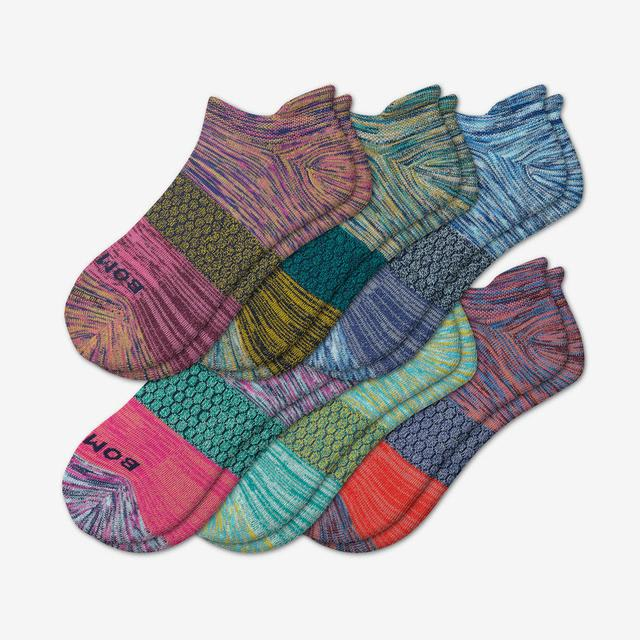 space-dye-mix Women's Tri-Block Marl Ankle Sock 6-Pack