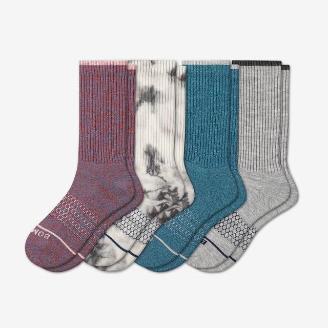 spring-multi Men's Merino Wool Calf Sock 4-Pack