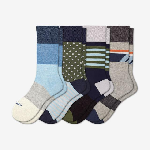 floral-solid-mix Men's Dress Calf Sock 4-Pack