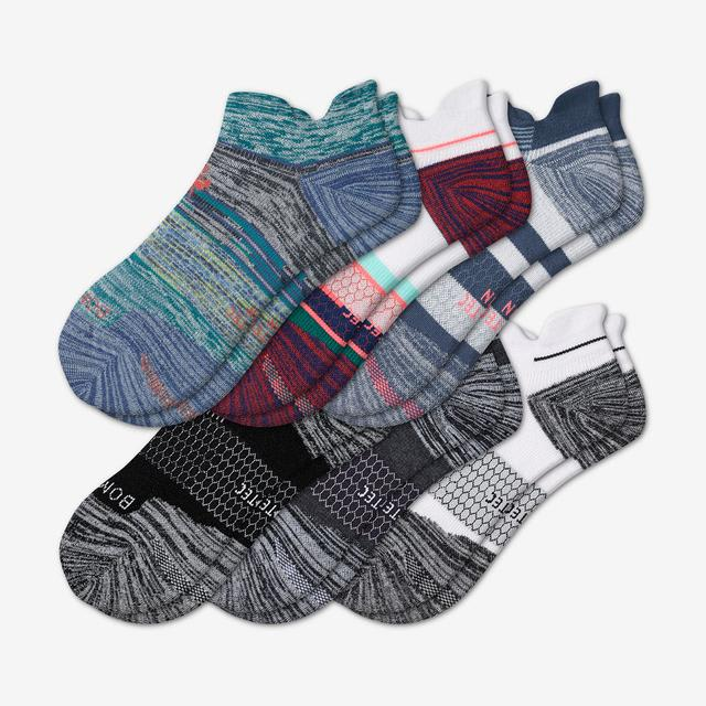 stripes-mix Men's Performance Running Ankle Sock 6-Pack