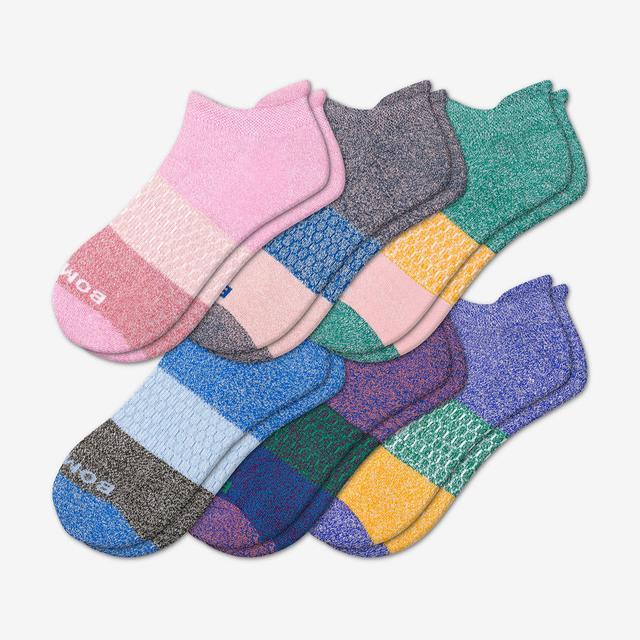 summer-mix Women's Tri-Block Marl Ankle Sock 6-Pack
