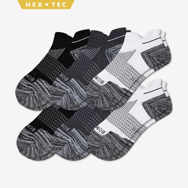 white-charcoal-black Men's Performance Running Ankle Sock 6-Pack