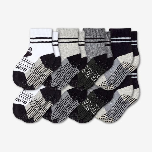 white-grey-charcoal-black Toddler Gripper Calf Sock 8-Pack