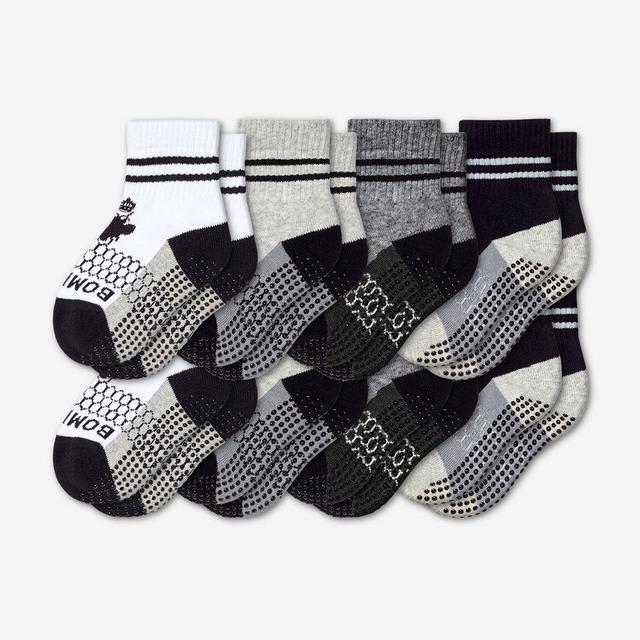 white-grey-charcoal-black Toddler Gripper Calf Sock 8-Pack