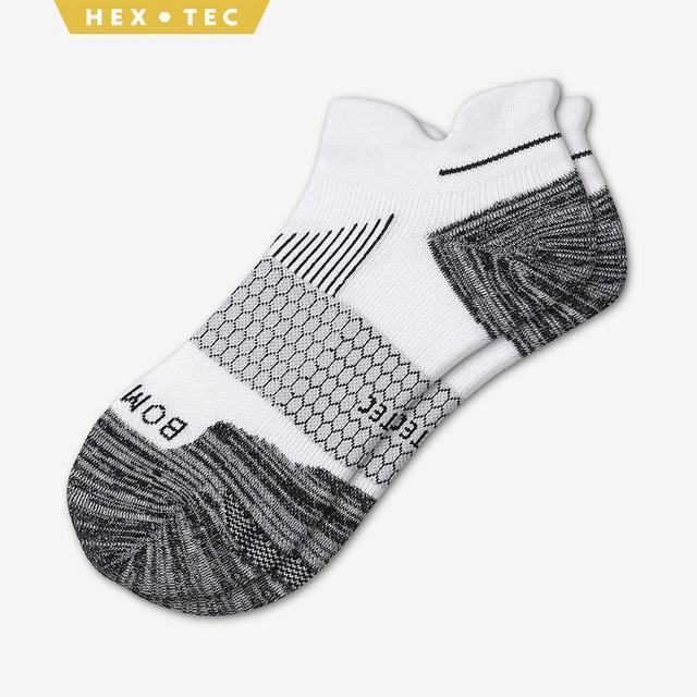 white Men's Performance Running Ankle Socks