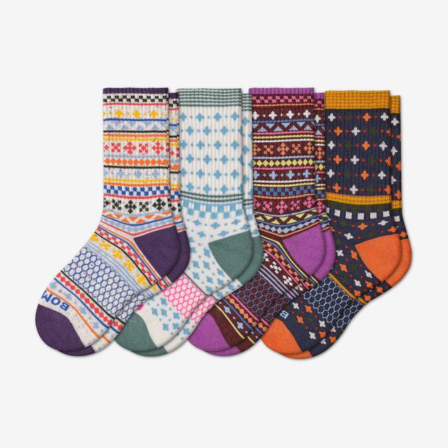white-plum-mix Youth Holiday Calf Sock 4-Pack