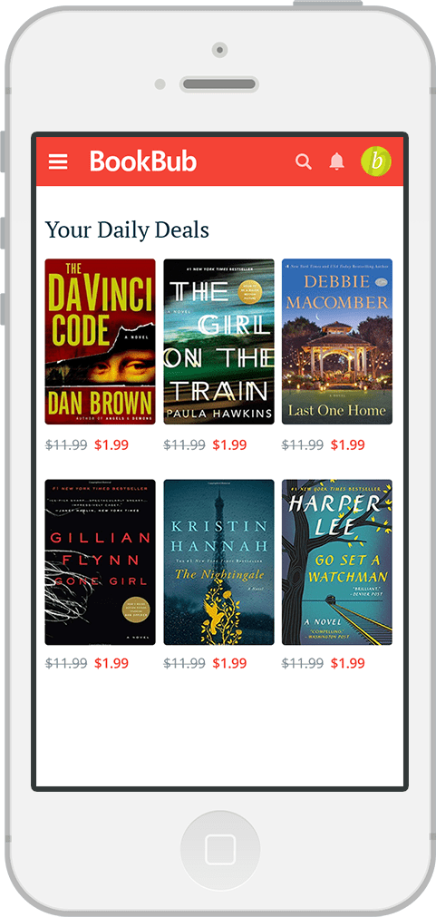 iPhone screen showing BookBub ebook deal experience