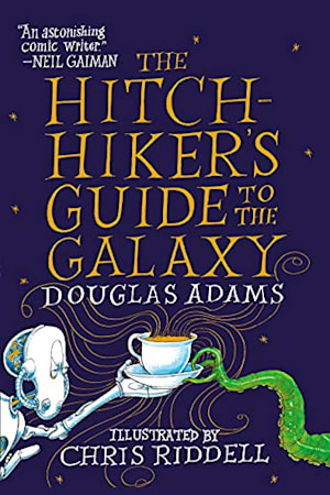 Book cover for The Hitchhiker's Guide to the Galaxy by Douglas Adams