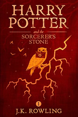 Book cover for Harry Potter and the Sorcerer's Stone by J.K. Rowling
