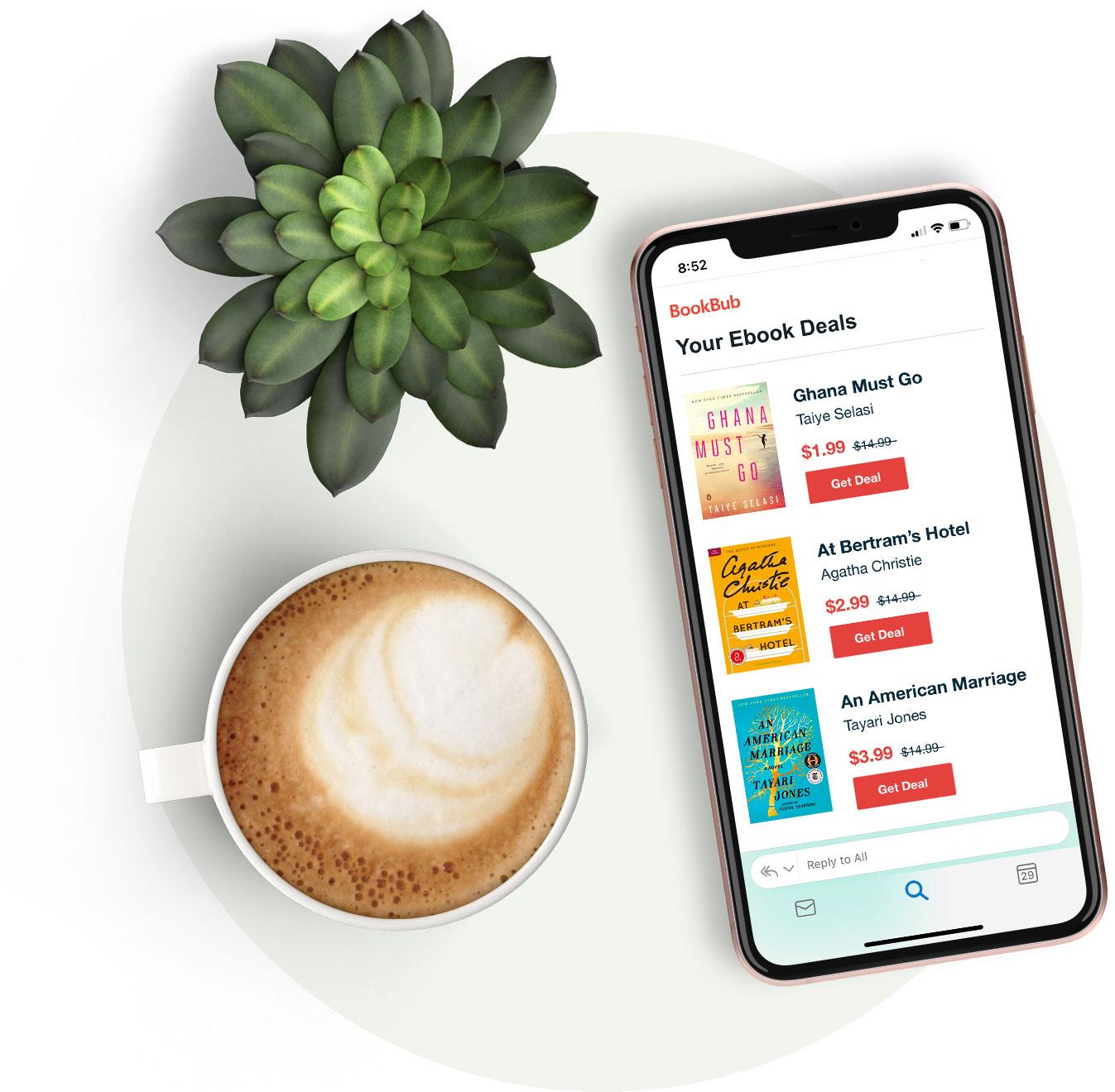 Coffee & a phone, displaying a BookBub email