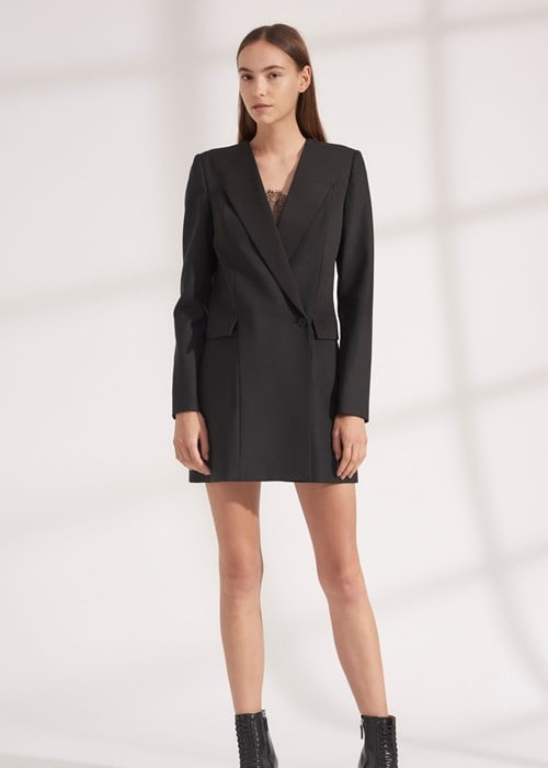Wool grosgrain blazer dress a9576 f19 500x1000 a9576f19 wool grosgrain blazer dress black 01