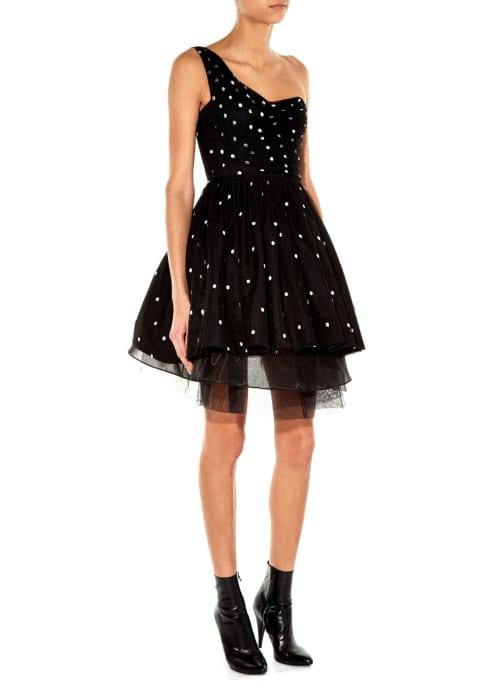 Saint laurent black white one shoulder polka dot tulle dress black product 2 344508602 normal