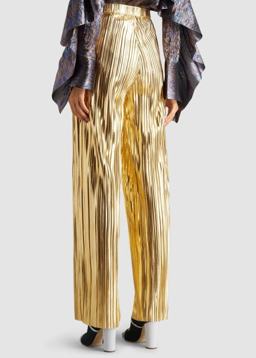 Dima ayad gold gold pleated high waisted wide leg trousers