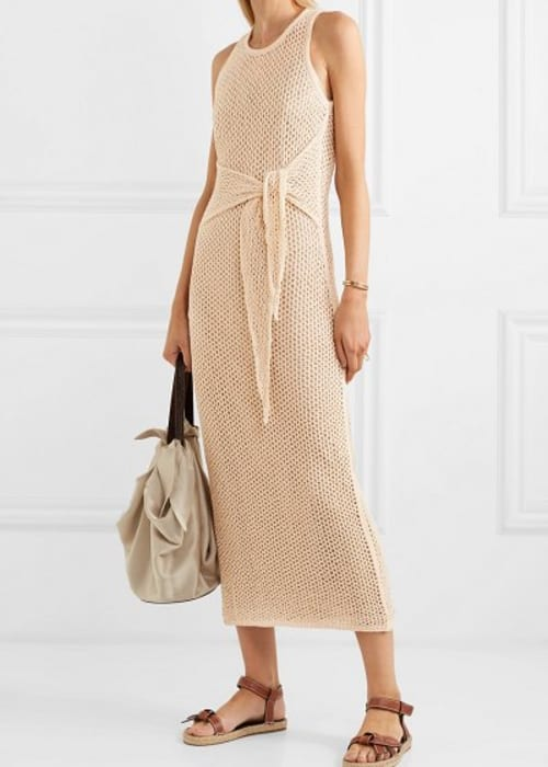 Nanushka mame tie detail knitted cotton maxi dress