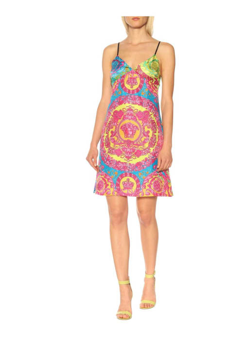 Versace multicoloured printed silk minidress %281%29
