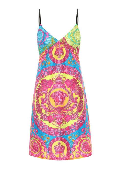 Versace multicoloured printed silk minidress