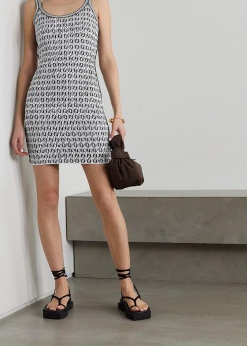 Fendi white jacquard knit mini short casual dress size 4 s 1 0 650 650