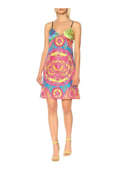 Versace multicoloured printed silk minidress %281%29