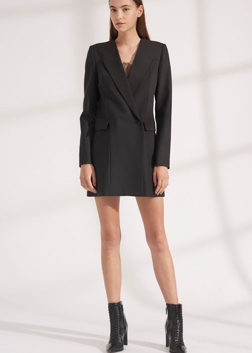 Wool grosgrain blazer dress a9576 f19 500x1000 a9576f19 wool grosgrain blazer dress black 01
