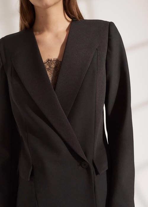 Wool grosgrain blazer dress a9576 f19 500x1000 a9576f19 wool grosgrain blazer dress black 02
