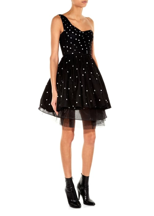 Saint laurent black white one shoulder polka dot tulle dress black product 2 344508602 normal