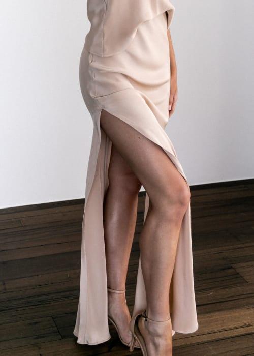 Grace loves lace.shop .ocassion and bridesmaids.belle silk split skirt sandstone 002