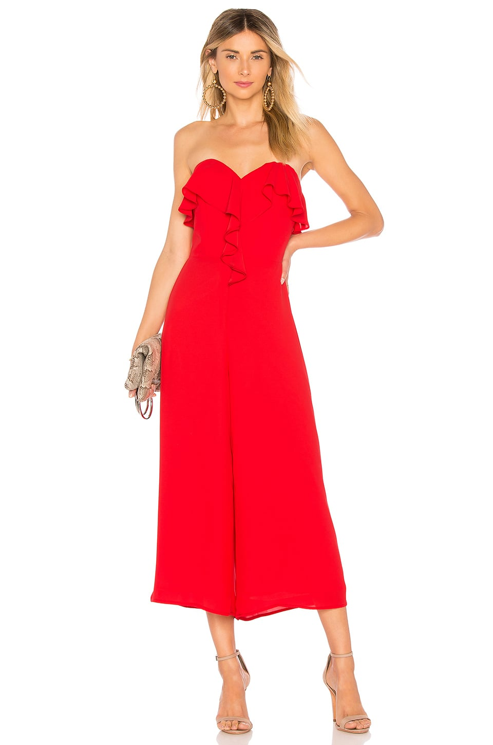094c49c61c22 Red jumpsuit that can be worn to an event such as a wedding or holiday party.  Never been worn. Retails for approx.  310.00 CAD.