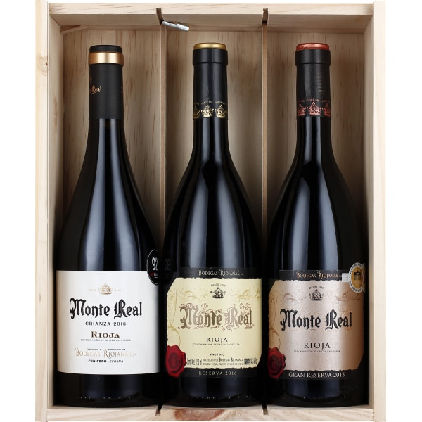 Monte Real Wooden Wine Box 3x75CL