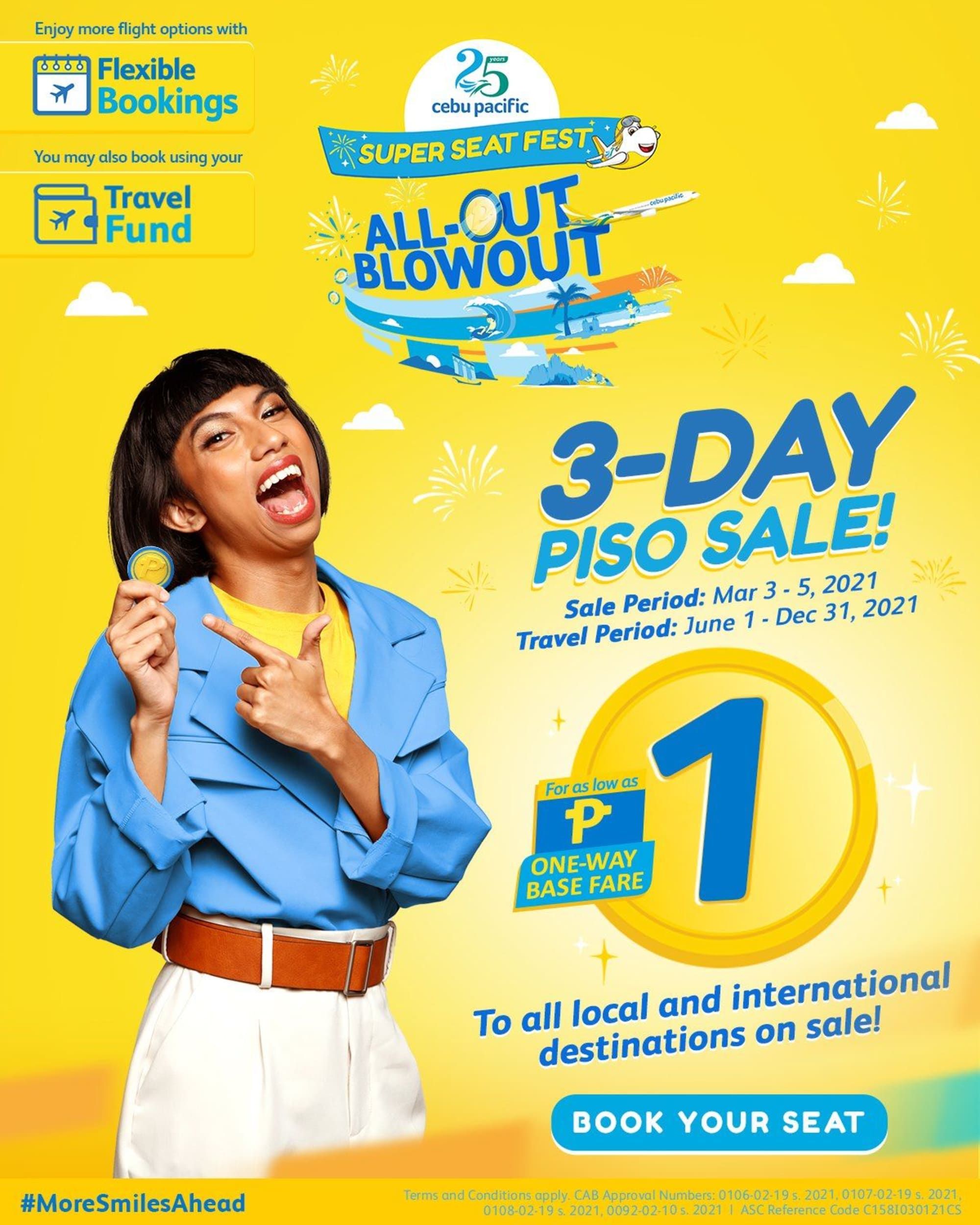 Cebu Pacific announces ₱1 Seat Sale Today March 3