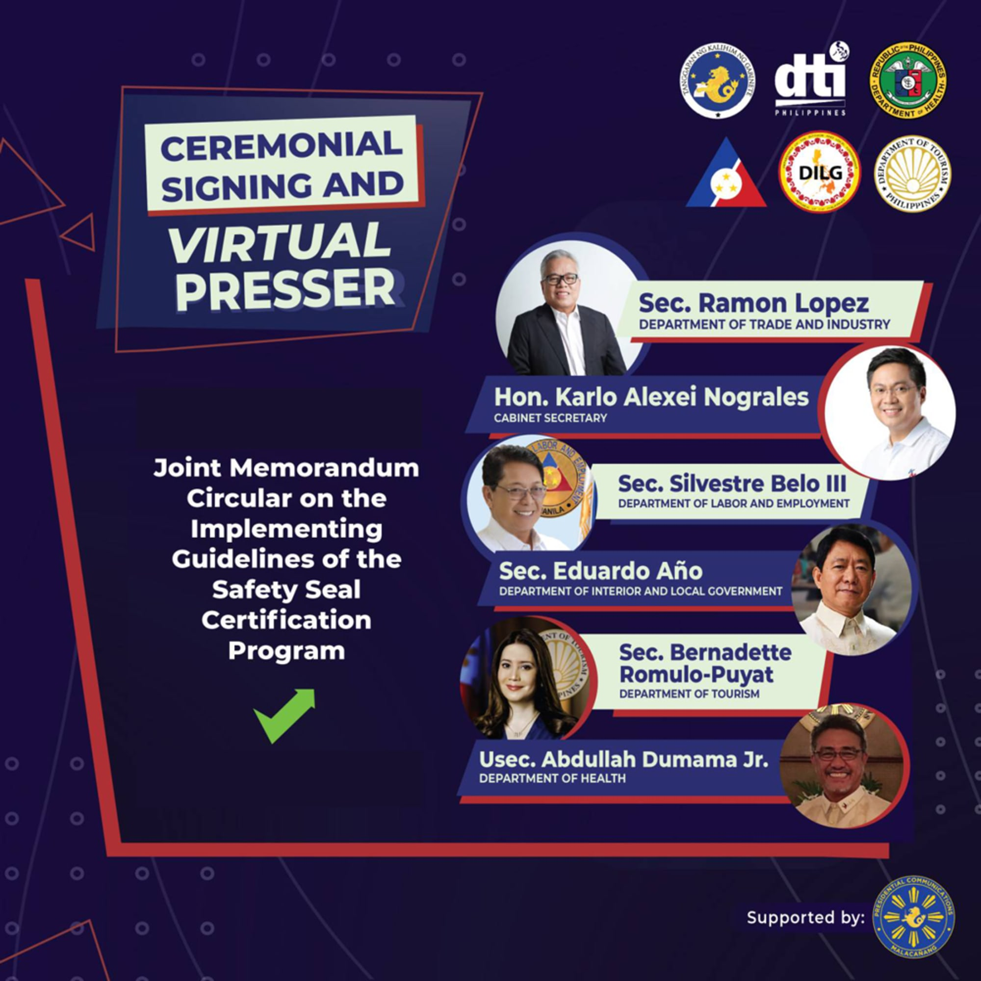 DOH-DOLE-DOT-DILG-DTI Joint Memorandum Circular (JMC) Ceremonial Signing on Implementing Guidelines of the Safety Seal Certification Program