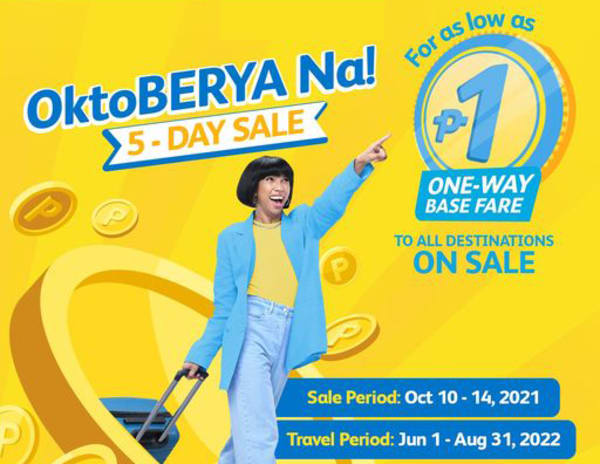 Cebu Pacific P1 fare promo for all its domestic and international destinations