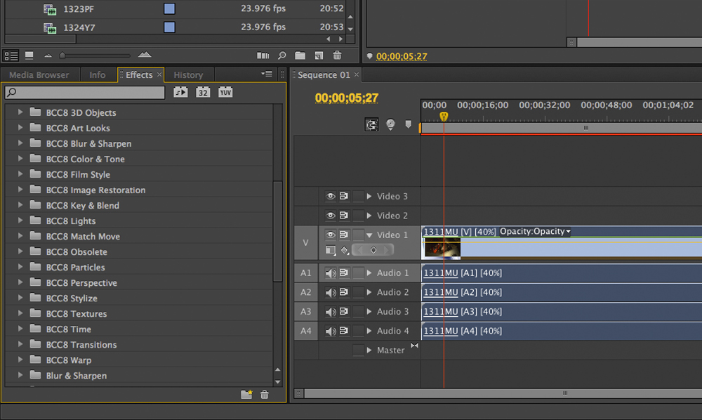 Once installed, the slew of effects choices appear in your video effects folder.
