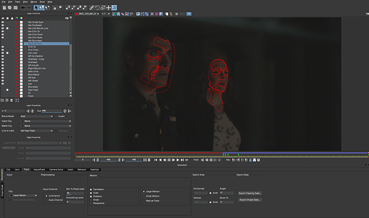 The Man in the High Castle, facial tracking Mocha Pro