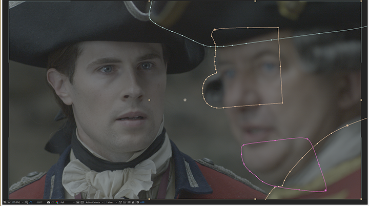 Outlander, right actor, rotoscope masks in After Effects