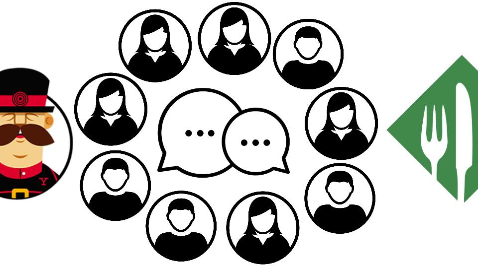 Des individus discutant et autour, les logos des solutions Yeoman et Brunch