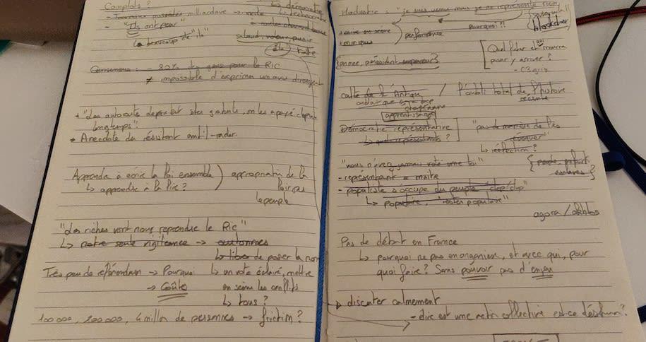 Un carnet de notes griffonées
