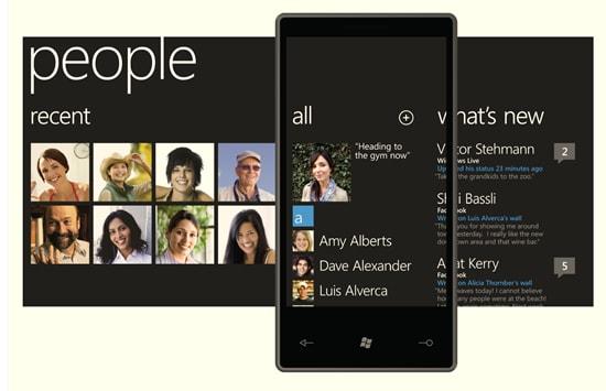 Des captures d'écran sur Windows Phone 7