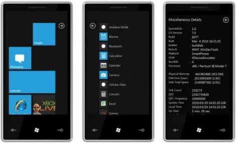 Capture de l'écran Émulateur Windows Phone 7, très fidèle au système