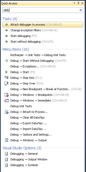 Capture de l'écran Quick Access